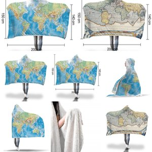 Ushio Xc magique Wearable capuche Throw Blanket New Mode Carte du monde Imprimé Canapé Couch Couvre-lit de lecture Regarder la TV 150 * 200cm X5Y5