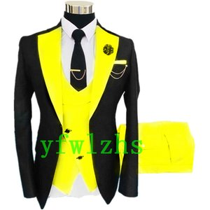 Handsome One Button Groomsmen Notch Lapel Groom Tuxedos Mens Wedding Dress Man Jacket Blazer Prom Dinner suits (Jacket+Pants+Tie+Vest) W560