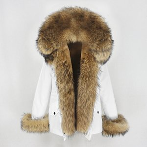 OFTBUY New Waterproof Short Parka Winter Jacket Women Real Natural raccoon Fur Collar Hood coat Warm Streetwear Detachable 201016