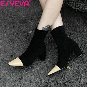 Çizmeler Esveva 2021 Kadın Ayakkabı Kare Yüksek Topuklu Patchwork Kadın Sivri Burun Ayak Bileği Kış Boyutu 34-431