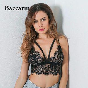 Okeinrry 2020 Новая мода Женщины Lace Mesh Твердая мягкий черный бюстгальтер регулируемый Bralette Обрезка бюстгальтеры LNE01