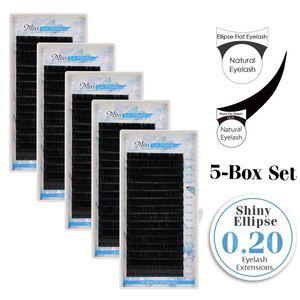 0.20mmEllipse Flat Eyelash extensions 5pcs lot Soft Thin Tip Flat Roots Semi-permanent Fake Eyelash Extensions