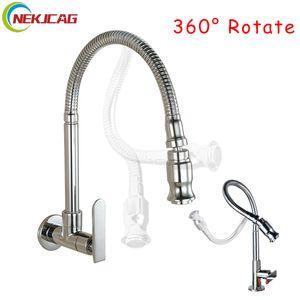 Chrome One Handle Kitchen Faucet Палуба смонтирована Cold Water Faucet Настенные Смесители Смесители 360 градусов Поворотная палуба установлена T200424
