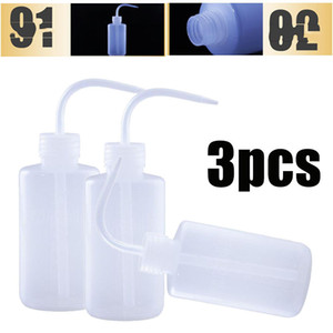 3pcs 250ml Curved Mouth Diffuser Plastic Wash Squirt Squeeze Bottle Lab Non-Spray Tattoo Bottles Accessories Refillable