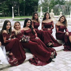 Burgundy Off Shoulder Long Sleeve Bridesmaid Dresses Lace Chiffon Prom Dress Open Back Formal Wedding Guest Dress Maid Of Honor Gowns