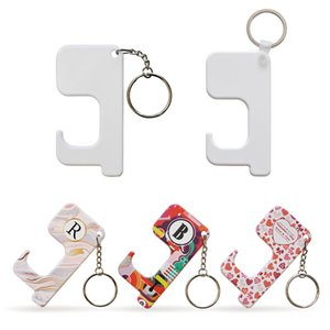 Sublimation Keychain Non-contact Door Handle Keychain Plastic DIY Blank Key Rings Safety Touchless Door Opener for Outdoor Public Elevator