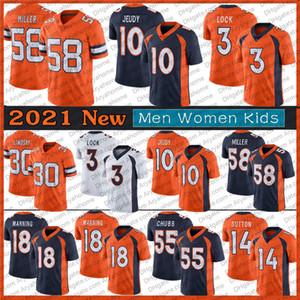 10 Jerry Jeudy 3 Drew Lock Jersey Männer Frauen Kinder 18 Peyton Manning 58 von Miller 30 Phillip Lindsay Orange DenverFußballtrikots