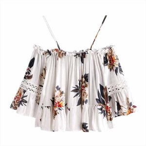 Summer Women Sexy Cold Shoulder Blouse Casual Floral Printed Off Shoulder Top Shirt Blouse blusas feminina C2935