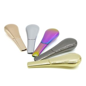 Rainbow Smoking Pipe Metal Zinc Alloy Tobacco Pipe Spoon Style Cigarette Pipes With Retail Boxes Ice Blue Rose Gold 5 Colors Dhg12
