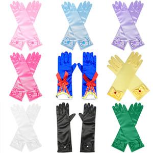 Ücretsiz DHL Yeni Ins Childen Kızlar Saten Ilmek İnci Uzun Eldiven Çocuk Kız Prenses Cosplay Çocuk Glitter Eldiven Parti Dans Parmak Eldiven