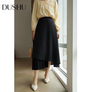 Dushu Hohe Taille schwarze langer Rock Frauen falteten a-Linie eleganter asymmetrischen Rock Herbst Winter Jahrgang weiblich plus Größe
