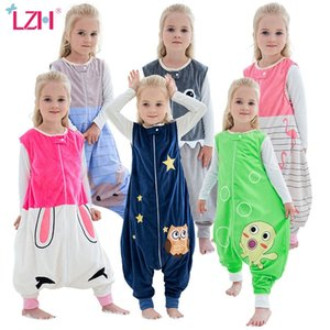 Autumn Winter Children's Sleeping Bags Cartoon Sleeveless Flannel Pajamas Baby Onesies Footed Pajamas Girls Overalls Jumpsuit 201225