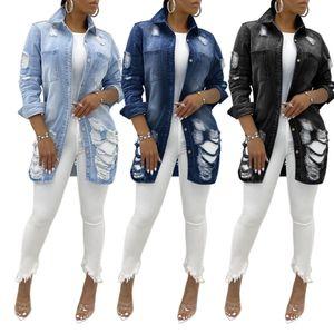 Fashion Jean Jacket Cardigan Smock Ripped Hole Long Sleeve New Women Denim Elegant Coat Outerwear Trench Vintage Coat