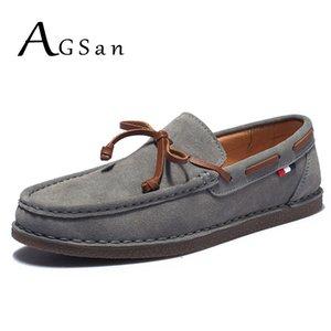 AGSan echtes Leder-Mann-beiläufige Tassel Boot Klassische Loafers Beleg auf Mokassins Grau Driving Schuhe Designer Wohnungen