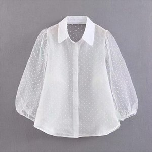 Dots Embroidery Women Elegant Organza Blouse 2020 Lantren Sleeve Black See Through Chic Top Casual Turn Down Collar Shirt Blusas