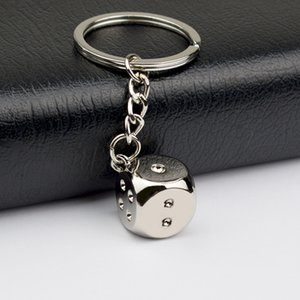 New Creative Key Chain Metal Personality Dice 3D simulation dice Model Alloy Keychain For Car Bag Charm Accessories keyring gift