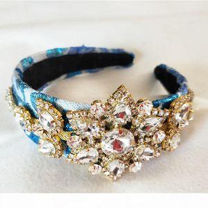 Handmade Luxury Queen Crown Baroque Wedding Crystal Big flower Crown and Tiara Headpieces Bridal Hair Accessories S919