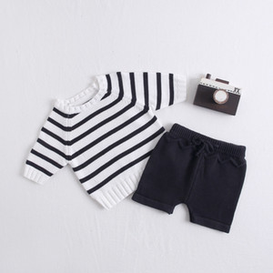 Kniited Baby Clothes Set Cotton Newborn Baby Girls Clothes Autumn Infant Clothes Set Stripe Toddler Clothing Set For Boy Outfits Y1113