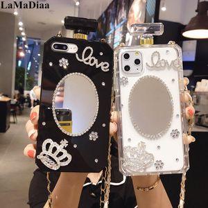 Luxo Bling Cristal Diamante Espelho Espelho Bolsa de Perfume Garrafa Caixa Capa Para iPhone11 Pro X XS Max XR 6S 7 8PLUS Phone Case