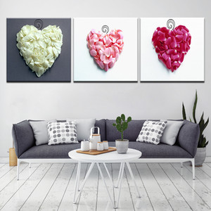 3 Panel Purple Art Canvas Painting Wall Decor Sweet Heart Pink White Fuchsia Flowers Petals Pictures Prints Paintings Home Decor