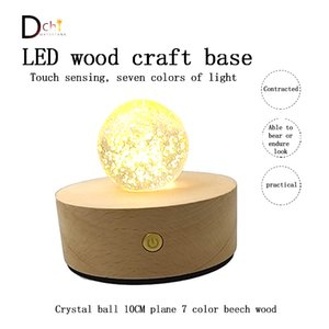 Wood light base solid wood lamp holder LED little night light Crystal ball glass handicraft decoration lithium electric touch