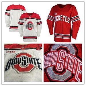 Пользовательские штата Огайо Buckeyes льда Хоккей Красный Белый Персонализированные свой собственный номер Название вышивки NCAA College Big Ten прошитой Mens Трикотажные
