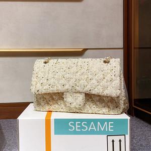 Solapa de Crossbody del hombro Cc Cadena Negro paño de lana Bolso clásico bicolor del envío Tamaños