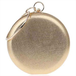 Evening Bags DCOS Round Shaped Women Evening Bags Diamonds Simple Clutches Shoulder Gold Drop Shipping