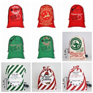 Weihnachtsgeschenk Taschen Baumwolle Leinwand Süßigkeiten Tasche Santa Claus Hirsch Säcke Leinwand Kordelzug Bag Weihnachten Kinder Geschenk Aufbewahrungstaschen Dekoration GWB2648
