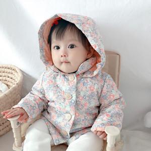 NewBaby девушки пальто зимы моды Дети цветы Толстая Куртка с капюшоном Cute детей Верхняя одежда Set