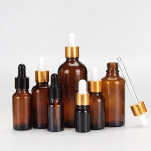 6pcs lot 100ml 50ml 30ml 20ml 15ml 10ml 5ml Amber Glass Essential Oil Dropper Bottle Essential Drop Vials Cosmetic Containers