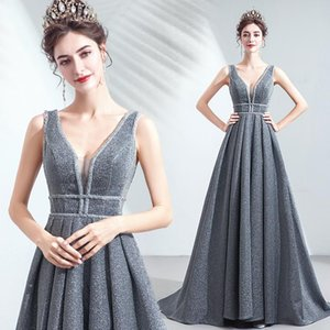 Silver grey long v neck shining luxury lady girl women mother prom dress party dress performance free shipping
