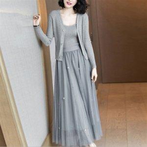 WTSQN 2020 Весна и Осень Новая Женская Одежда Корейский Мода Трикотажный Стиль Стиль Юбка Судьба Три Части Костюм для женщин Подвеска