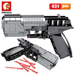 SEMBO 431pcs City Military Police Pistol Gun Building Blocks Technic The Signal Gun Assembly Bricks sets Toys for Boys C1114