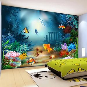 Пользовательского Mural обои 3D Мультфильм подводного мир Фото Стена Картина Детской Спальни Мультфильм Декор стена Бумага для стен 3 D