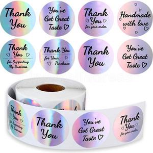 Arco iris Gracias Pegatinas Tinta negra Pegatina de negocios de plata holográfica 500 Etiquetas Diferentes palabras para boutiques de negocios Compras