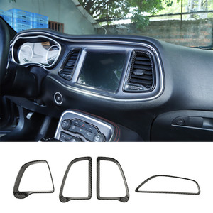 Carbon Fiber ABS Center Console Кондиционер Vent кольцо для Dodge Challenger 2015+ Factory Outlet автомобиля Аксессуары для интерьера