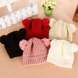 Pompom Baby Hat Solid Color Newborn Boy Girl Winter Beanie Cap Warm Knitted Double Hair Ball Infant Toddler Bonnet Hat