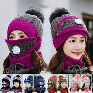 Women Warm Wool Beanies Skullies Hats With Mask Collar 3pcs Set Knit Caps Winter Outdoor Cycling Hat Female Cap Sea Shipping DDA790