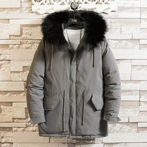 HCXY brand 2020 winter mid-length jacket coat men new casual mens cotton-padded parka loose style jacket male