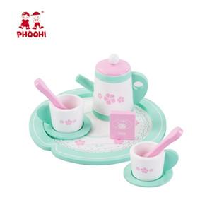 Girl Mini Wooden Pretend Play Tea Set Toy Kids Kitchen Cup Tray Gift LJ201211