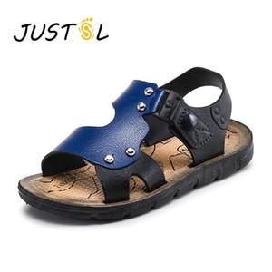 JustSl Children Fashion Fashion Sandals Boy Beach Shoes Buckle Sandálias do bebê ao ar livre Dides antiderrapante Sapatos lisos Tamanho 20-35 Y201028