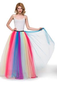 MisShow Новое прибытие Красочная Бич Maxi Skirt 2019 Sexy Ladies Тюль юбка женская с длинным Длина пола Радуга Пачка Юбка Женщины