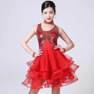 Latin Dance Dress Competition Stage Performance Sequin Square Modern Dance Mesh Cha Ballroom Dancing Costume
