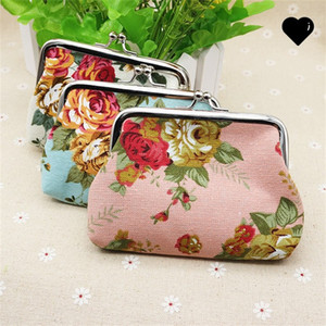 Fashion Hot Vintage flower coin purse canvas key holder wallet hasp small gifts bag clutch handbag 104 N2