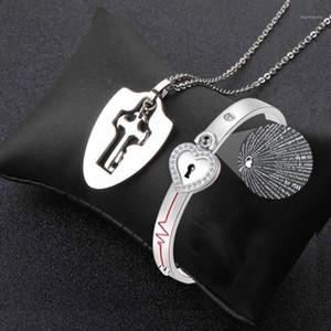 Midy New Love Lock Block Key Ожерелье набор с 100 языками, которые я люблю вы проектировать браслеты из нержавеющей стали влюбленные ювелирные изделия Gift1