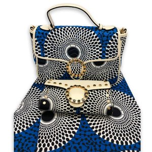 Hot Sale Fashion Woman Handbag And Wax Fabirc Set African Style 6Yards Handbag And Wax Fabric To Match Set For Party Dress