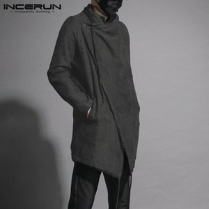 Mens Cloak Coat Solid Color Fashion Streetwear Irregular Trench One Button Long Sleeve Mens Outerwear Windbreaker S-5XL INCERUN