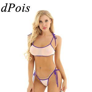 Sexy Female Erotic Micro Mini Bikini Set Women Swimming Bathing Suit Adult See Through Mesh Sheer Swimwear Transparent Swimsuit
