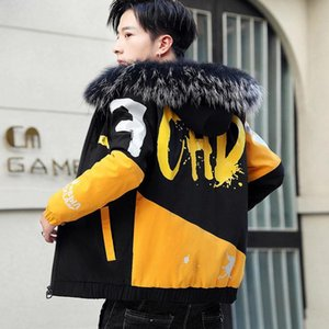 Cheap New Fashion Winter Jacket Men Big Cool Fur Collar Casual Parka Outwear Thicken Warm Hooded Outwear Coat